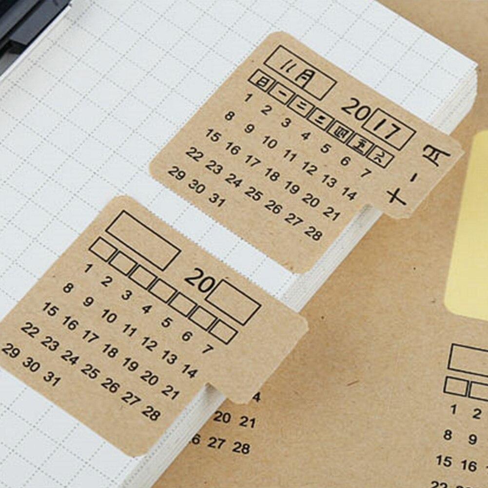 4 Sheets Handwritten Notebook Kraft Paper Calender Label Stationery Organizer Index Stickers #4