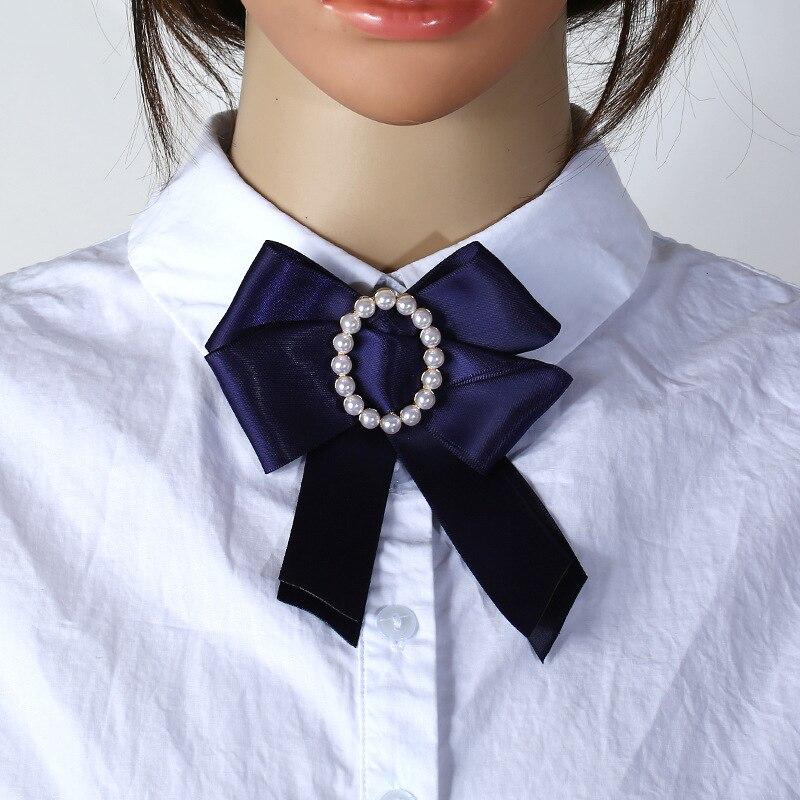 New Cute Solid Ribbon Fabric Bow Fashion Tie Flower Pearl Bow tie Pin Women Necktie Collar Shirt Dress Lazos De Cinta Gravata