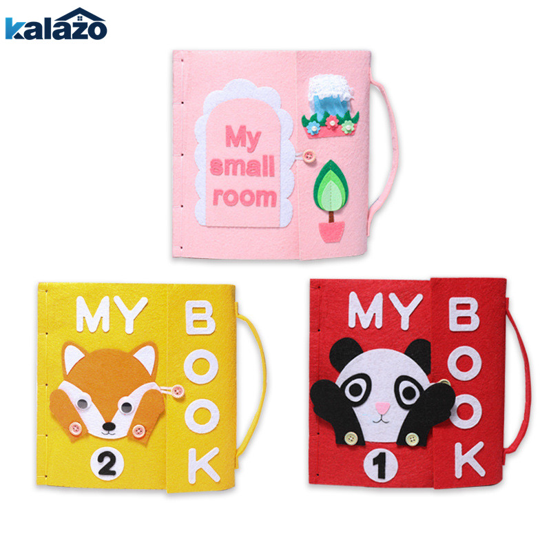 1pc cute cartoon animal pattern Handmade Felt Quiet Books Baby Early Cognitive Kid Felt DIY Package children toys gift in DIY Package from Home Garden