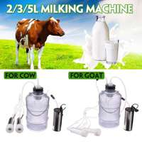 2L/3L/5L 24W Cow Goat Electric Milking Machine Sheep Milker Dual Vacuum Pump Bucket Food Safety Level Plastic Milking Machines
