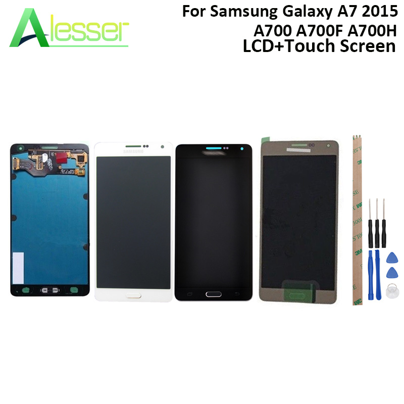 Alesser For Samsung Galaxy A7 2015 A700 LCD A700F A700H Display And Touch Screen Screen Digitizer Adjust Brightness With ToolsAlesser For Samsung Galaxy A7 2015 A700 LCD A700F A700H Display And Touch Screen Screen Digitizer Adjust Brightness With Tools