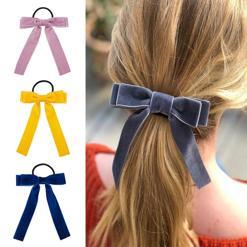 Adjustable Elegant Bow Ties Ponytail Holder Hair Accessories Elastic Hair Rope Korean 1PC Bowknot Velvet Scrunchie Leopard
