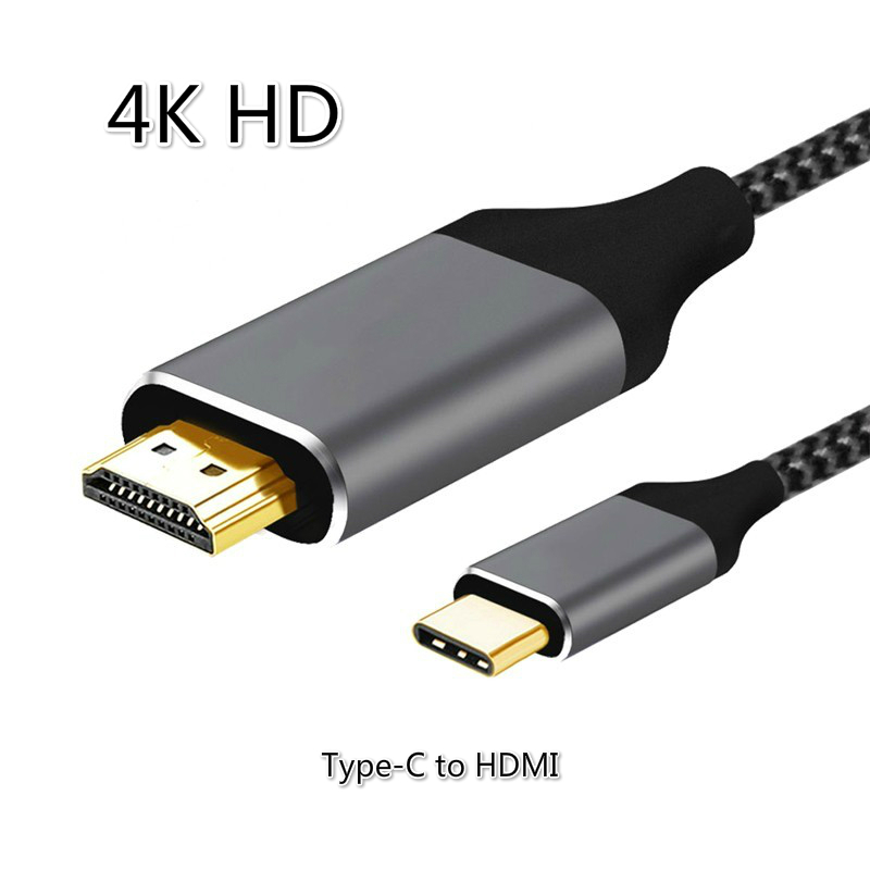 4K HD 2m USB Type C To HDMI Cable Adapter For Huawei Mate 20 Macbook Pro 2018 iPad Pro Samsung S9 HDMI USB C Type c Game Cables