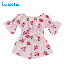Rose Girl Clothes Jumpsuits Kids Flower Print Clothes Jumpsuit For Girl Kids Summer Children Girls Jumpsuits Bell Sleeve D30 shein kiddie girls stand collar cloud print casual jumpsuit with headband kids 2019 spring long sleeve children cute jumpsuits