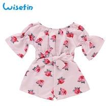Rose Girl Clothes Jumpsuits Kids Flower Print Jumpsuit For Summer Children Girls Bell Sleeve D30