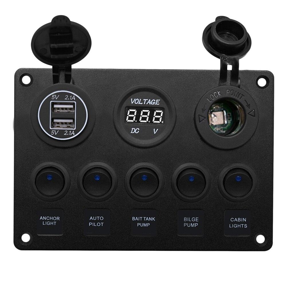 1 Pc panneau d'interrupteur à bascule 5 Gang 2.1A double Ports USB voltmètre allume-cigare voyant véhicule panneau de commande automobile