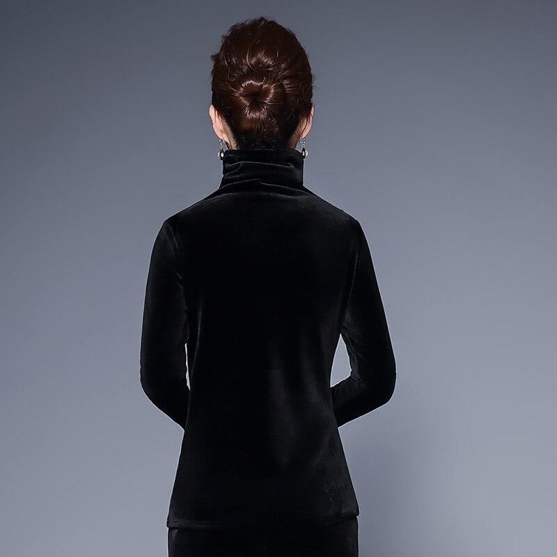 Noir Tops Vintage Automne Femmes Blouses Blouse Floral Hiver Velours Blusas Manches La Taille À Longues Chemise Broderie Casual Black Plus Chaud Z4Fgx4