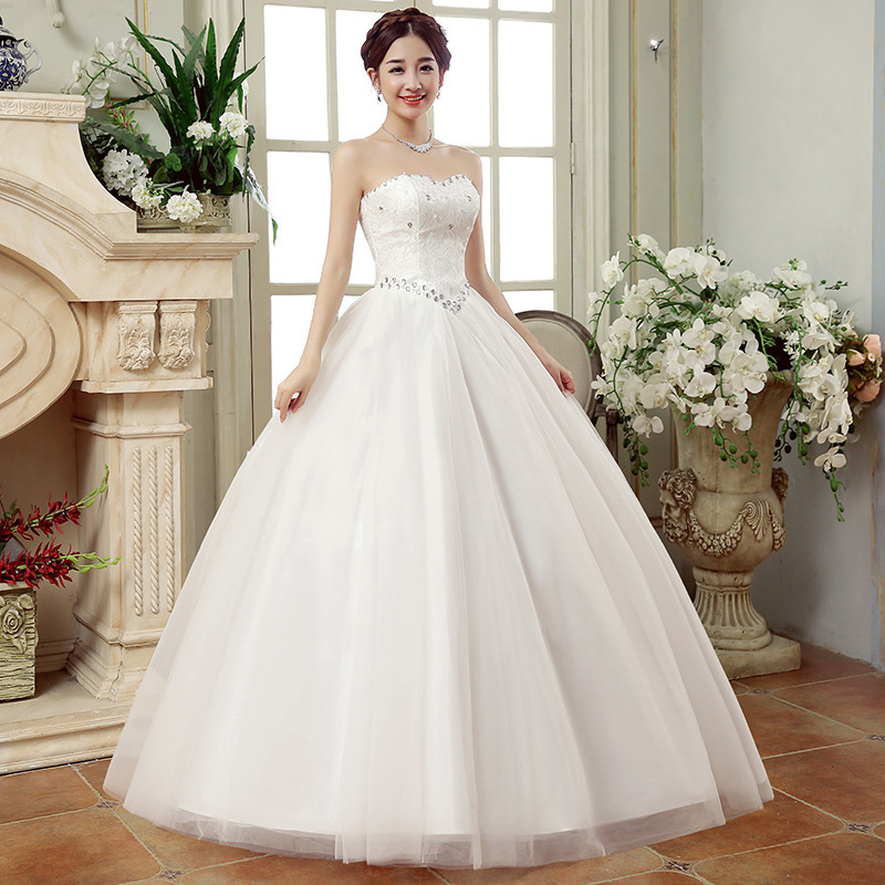 Image 2 - Cheap Wedding Dresses China Elegant White Ball Gown Sweetheart Lace Beaded Backless Wedding Dress 2019 Vestidos De Matrimonio-in Wedding Dresses from Weddings & Events