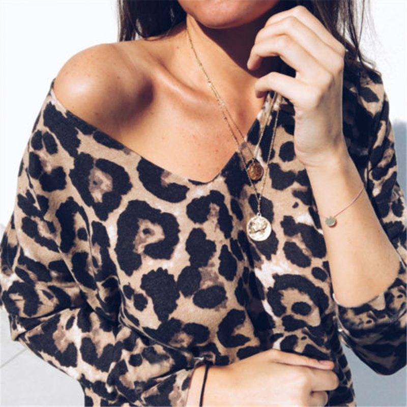 Fashion stretchable Womens Dresses Ladies Leopard V Neck Elegant Tops Bodycon Low-cut Long Sleeve Blouse sexy Hot Autumn Shirt