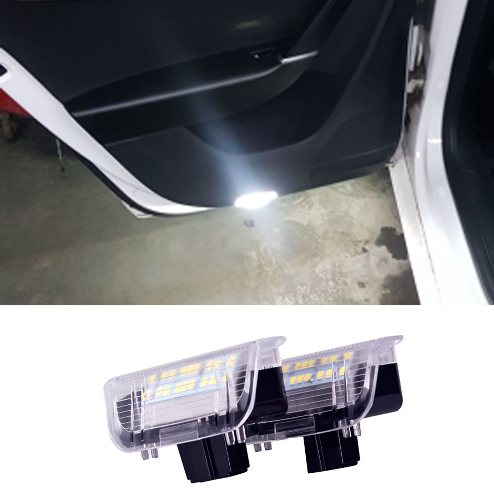 2Pcs <font><b>LED</b></font> Car Door Warning <font><b>Light</b></font> for VW Volkswagen Scirocco Passat B6 B7 B5.5 <font><b>Golf</b></font> <font><b>4</b></font> 5 6 7 MK4 Jetta MK5 MK6 MK7 CC Tiguan White image