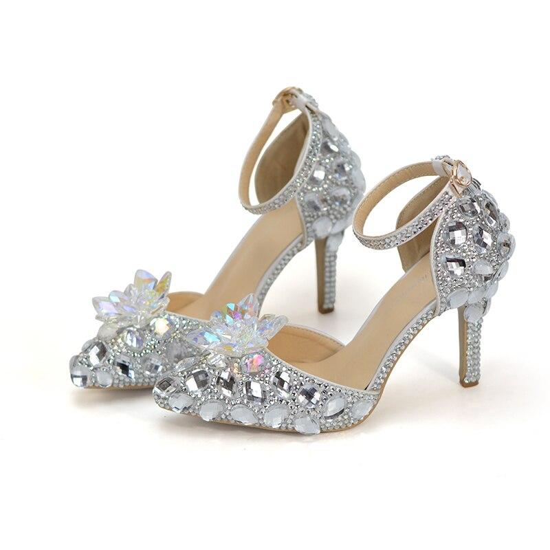 Cheville Strass Plus À Demoiselle Bout Chaussures Argent Bride Mariée Cendrillon Heels De Silver 8cm La 10 Bal Boucle Taille Pompes Pointu D'honneur Mariage zAxqzP6