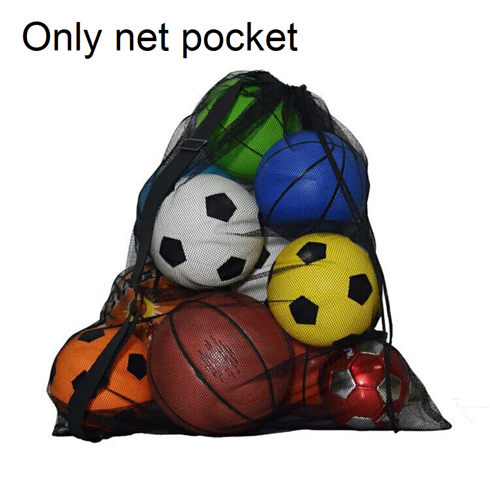 Black Outdoor Mesh Bag Large Capacity Football Storage Portable Carry Training Equipment Organizer Drawstring Basketball Sports~