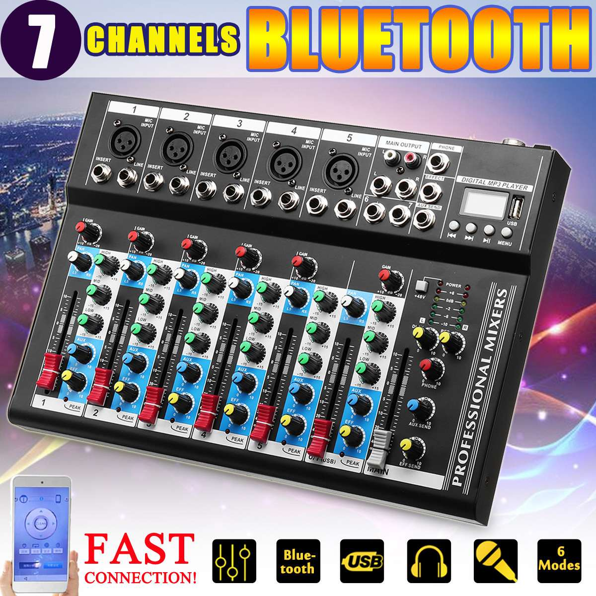 7 Channel USB Digital Karaoke Mixer bluetooth Live Studio Audio Mixing Console Microphone Sound Card for DJ Wedding Party KTV7 Channel USB Digital Karaoke Mixer bluetooth Live Studio Audio Mixing Console Microphone Sound Card for DJ Wedding Party KTV