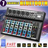 7 Channel USB Digital Karaoke Mixer bluetooth Live Studio Audio Mixing Console Microphone Sound Card for DJ Wedding Party KTV