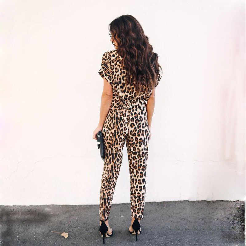 Kadın Tulumlar Leopar Baskı Kısa Kollu Uzun Pantolon Streetwear Düğme V Boyun Bayan Ofis günlük kıyafetler GRNSHTS