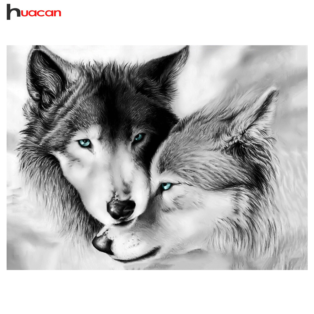 Huacan Diamond Embroidery Wolf Diamond Painting Animal Full Square Crafts Kit 5D DIY Cross Stitch Mosaic Rhinestones Home DecorHuacan Diamond Embroidery Wolf Diamond Painting Animal Full Square Crafts Kit 5D DIY Cross Stitch Mosaic Rhinestones Home Decor