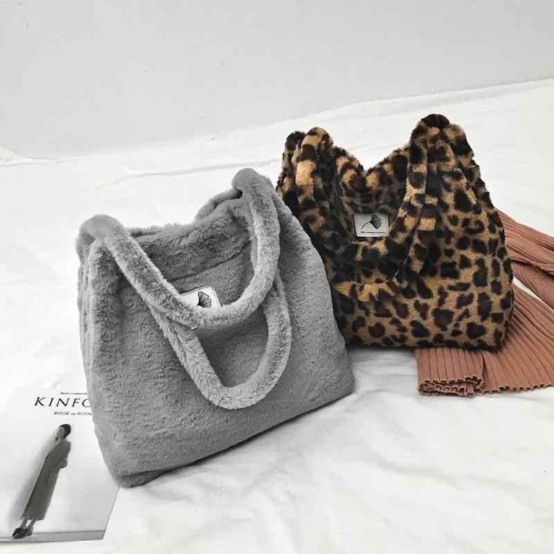 Women Faux Fur Shopping Bag Female Handbag Girl Large Capacity Shoulder  Totes Bags Bolsa Feminina 831de2e37ece6