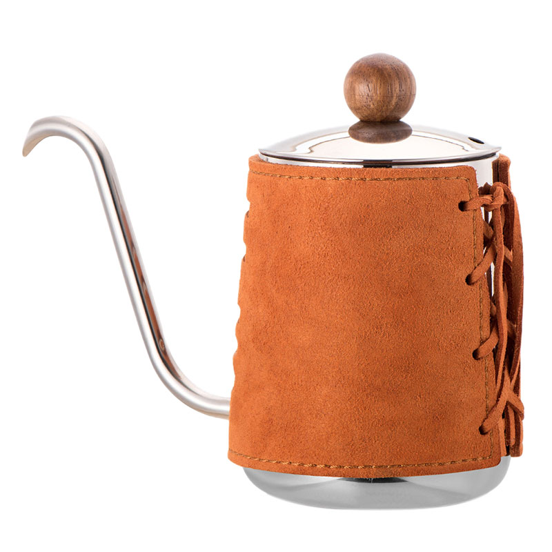 Hot Sale High Grade Stainless Steel Hand Drip Kettle With Extra Narrowed Gooseneck Spout and Synthetic Leather Wrapping 300mlHot Sale High Grade Stainless Steel Hand Drip Kettle With Extra Narrowed Gooseneck Spout and Synthetic Leather Wrapping 300ml