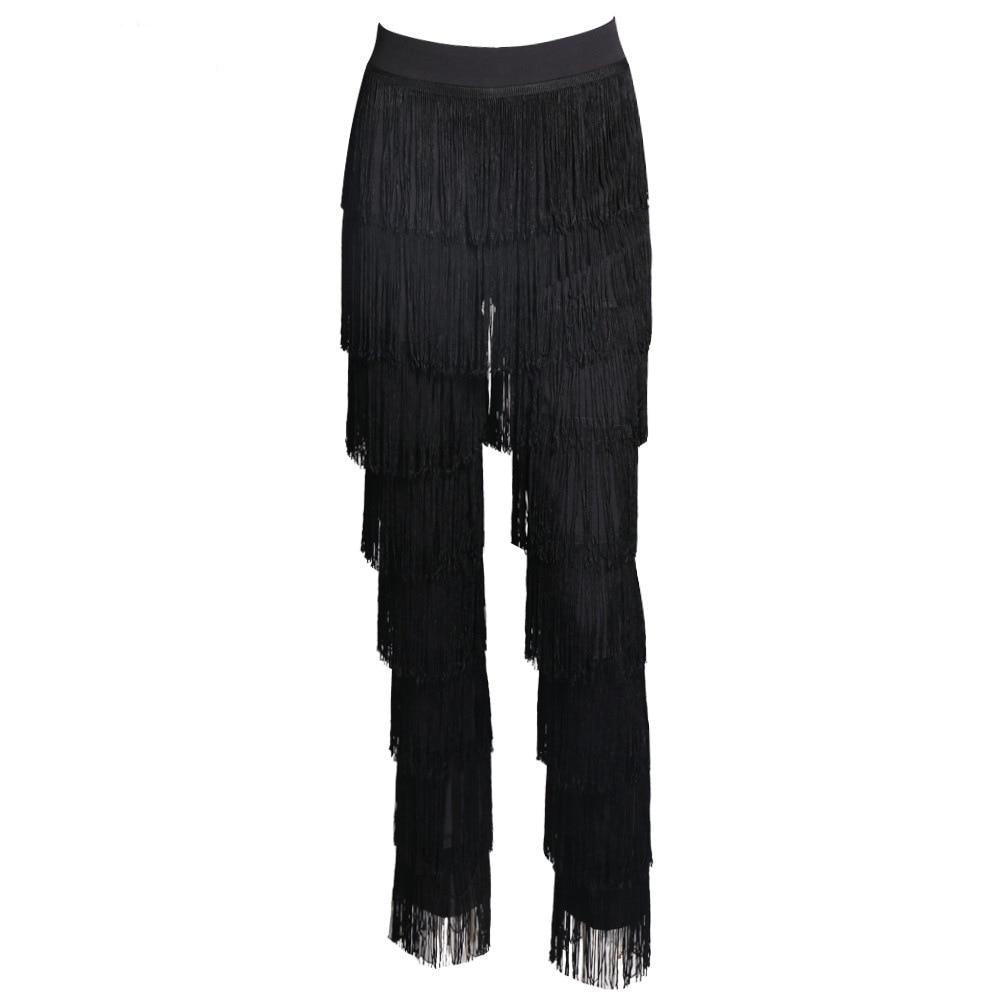 Elegant Straight Tassels Fringed   Pants   Summer Sexy High Waist Fashion   Pants   Women   Pants