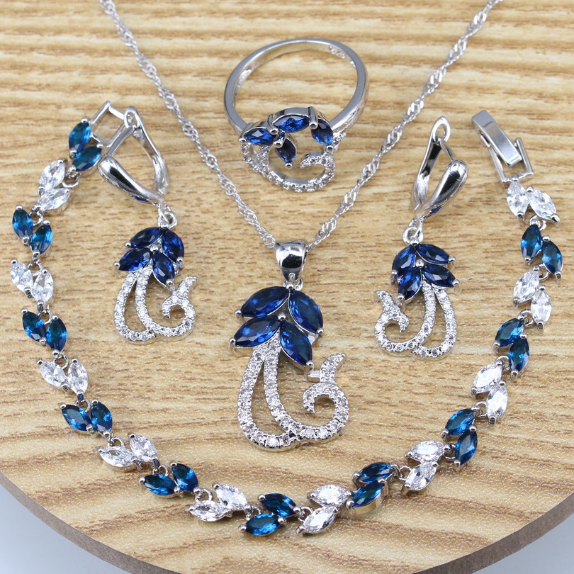 Blue Cubic Zirconia Silver 925 Jewelry Sets With Drop Earrings Necklace Rings Bracelets Western Sets