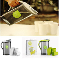 2.1L Juice Milk Cold Water Kettle With 4 Cups Drinking Bottle Large Capacity Plastic Teapot Set Kitchen Drinkware