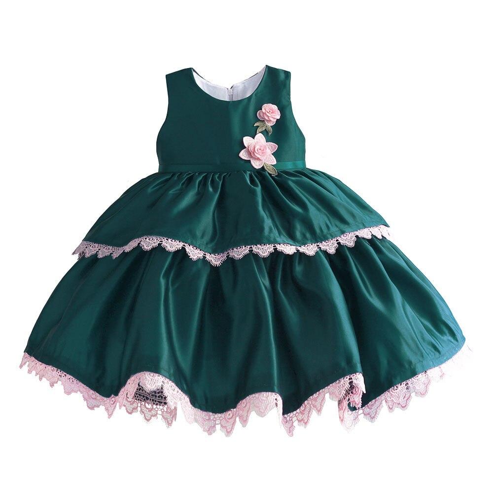 2019 été poitrine fleur bébé fille fête robe de mariée Satin pur coton gilet princesse robe vert anniversaire robe complète