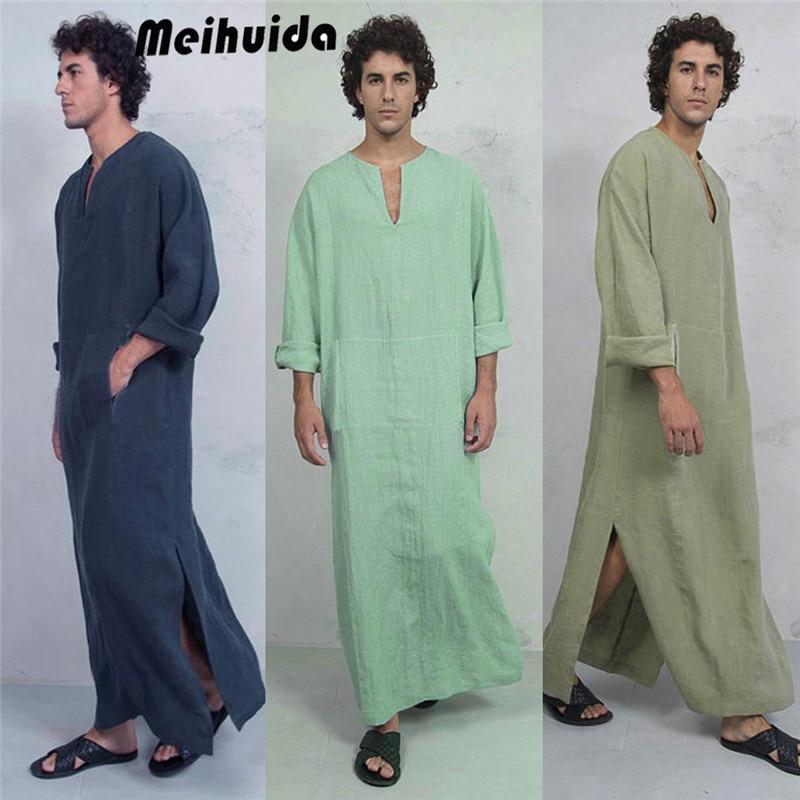 2019 New Fashion Men Muslim Islamic Arabic Striped Kaftan Robe Casual Long Dress Shirt