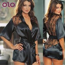 OLO Sexy Lingerie Babydolls Erotic Underwear Exotic Apparel Black Lace Robe Sexy Night Gown Intimate Sleepwear