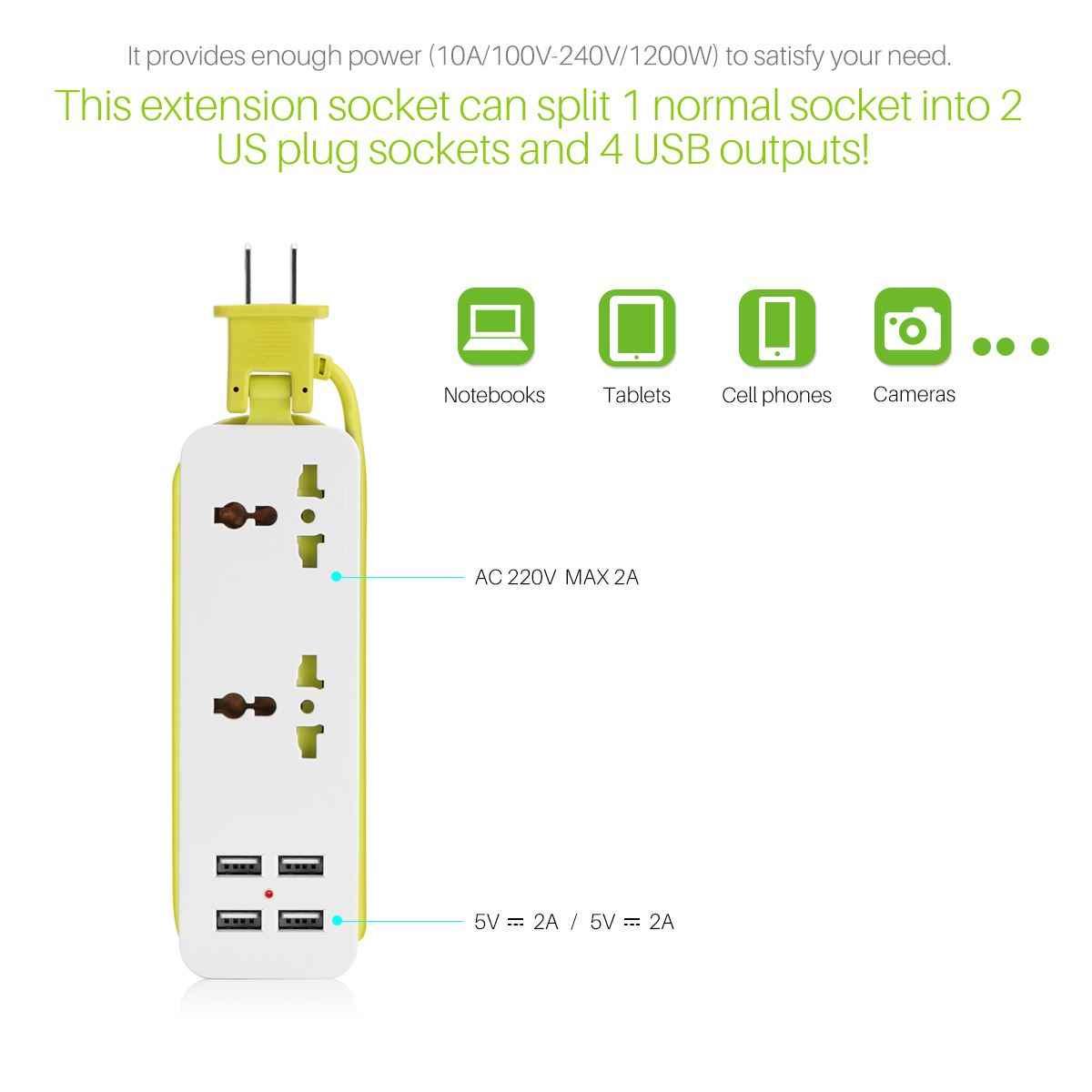 Mở rộng Ổ Cắm Ổ Cắm Xách Tay EU Cắm Du Lịch Power Strip Surge Protector với 4 USB Thông Minh Sạc Tường Sạc Máy Tính Để Bàn Hub
