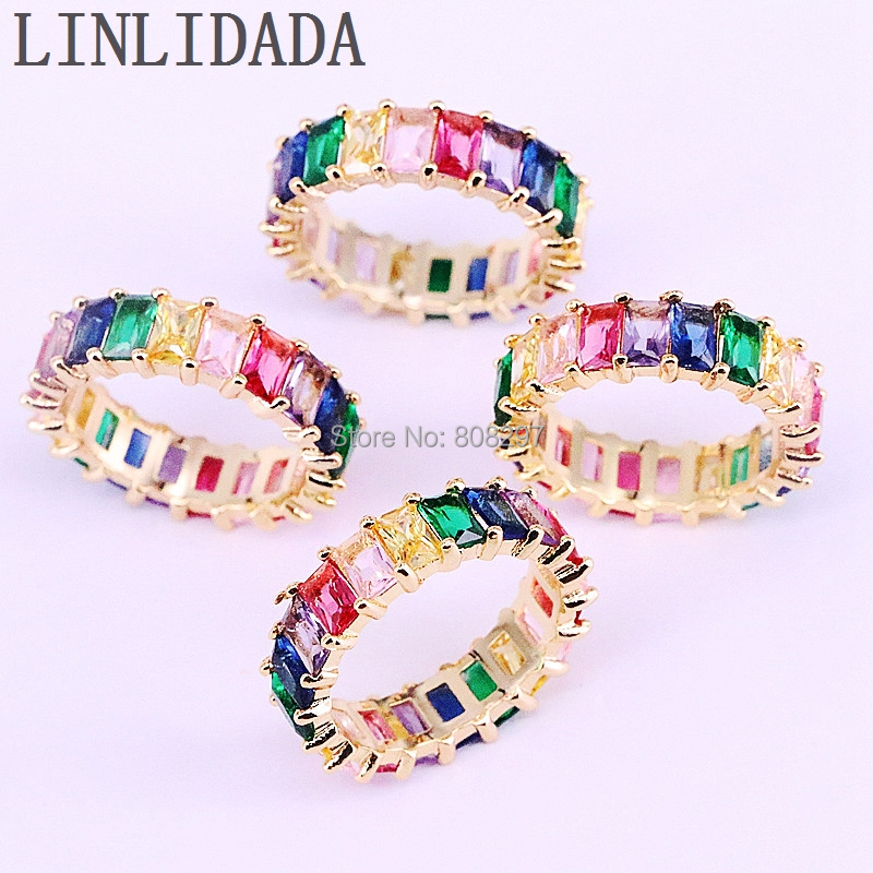 5Pcs High quality shinning delicate colorful rainbow cz Luxury gorgeous ring for women new fashion elegant ring