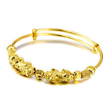 New Design Pixiu Bangle for Women Vietnam Alluvial Gold Ethnic Plated Adjustable Bracelets Luxury Jewelry Mistress Gifts