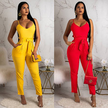 Women Sexy Suspender Jumpsuit Spaghetti Strap Belt Romper Long Pants High Waist Overalls Elegant Party Office Plus Size Summer(China)
