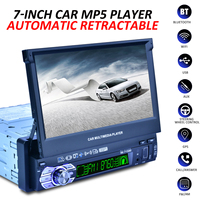 1 DIN 7 HD Auto Retractable Screen bluetooth Car Radio Stereo Multimedia Player GPS Navigation Remote Control + Rearview Camera