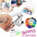 1600 pçs de metal imprensa alicates ferramentas botão de instalação de roupas das crianças botão prendedor alicate kit 24 cor t5 quatro fivela