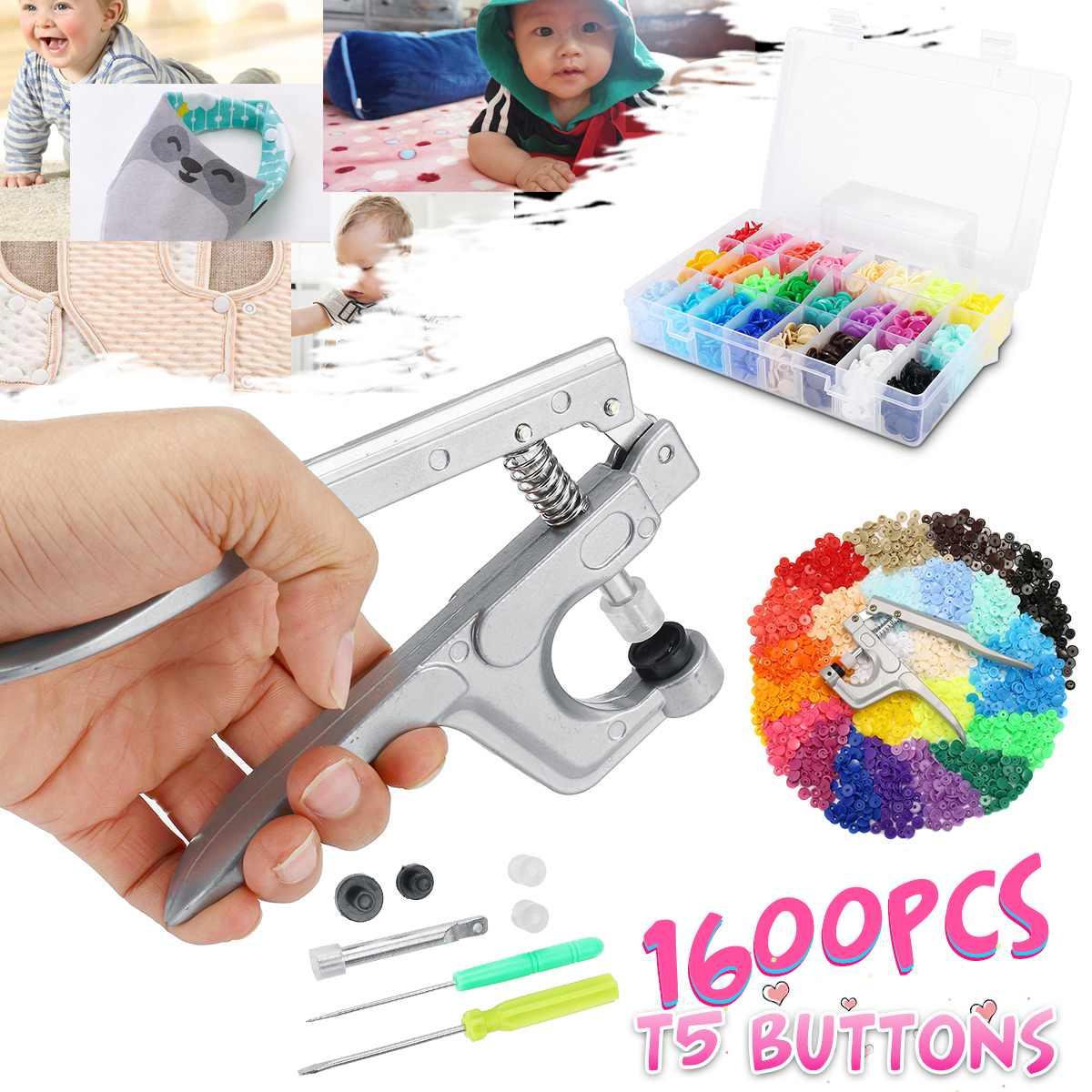 1600 stücke Metall Drücken Zangen Werkzeuge kinder kleidung taste installation Taste Fastener Zangen kit 24 farbe von T5 vier schnalle