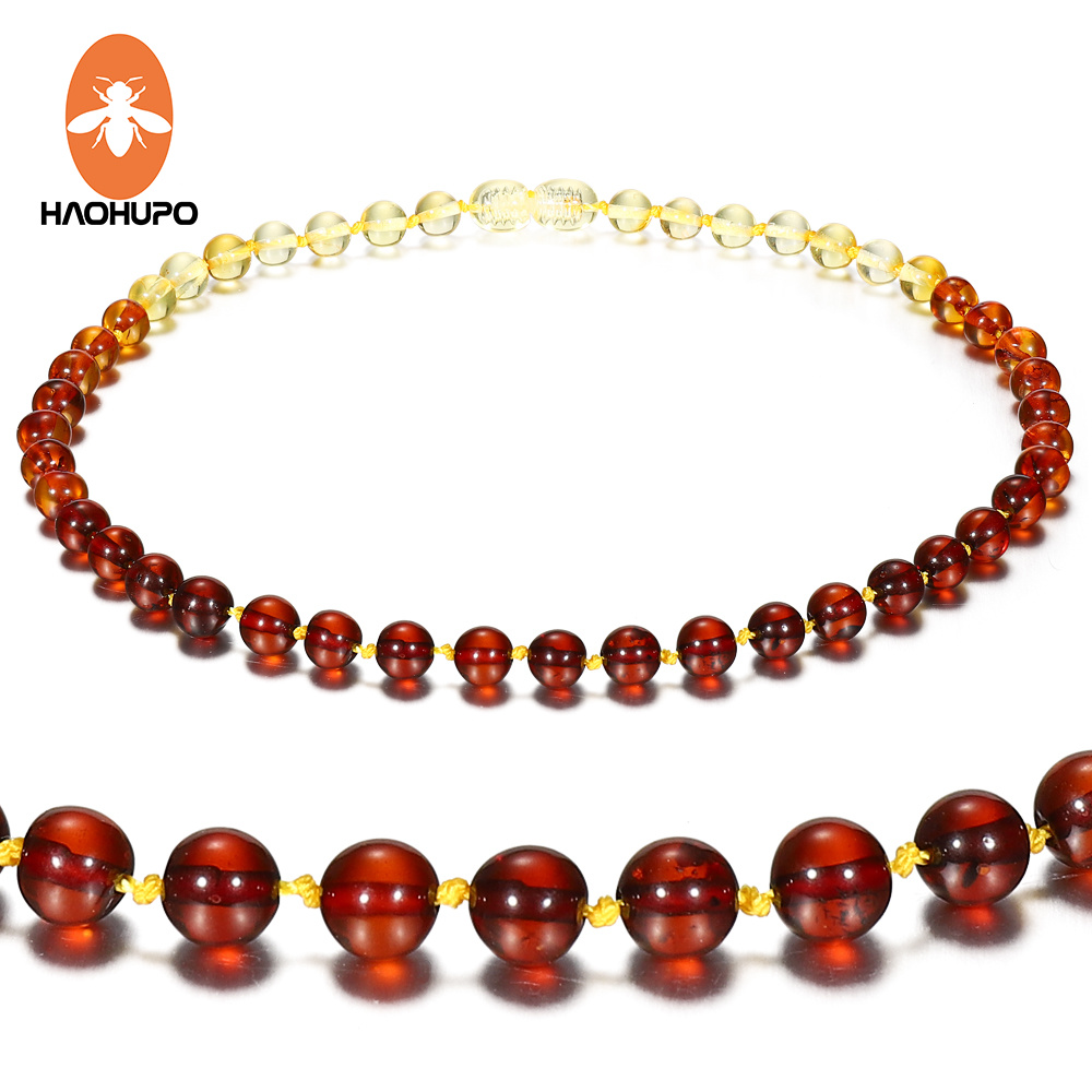 Hao Hu Po 5 Colors Classic Polished Amber Necklace for Baby Gifts Top Quality Handmade Baltic Natural Jewelry in Necklaces from Jewelry Accessories