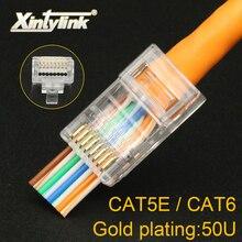 Xintylink 50u ez rj45 conector cat6 ouro placa rg ethernet cabo plug cat5e utp 8p8c cat 6 rede sem proteção cat5 jack modular