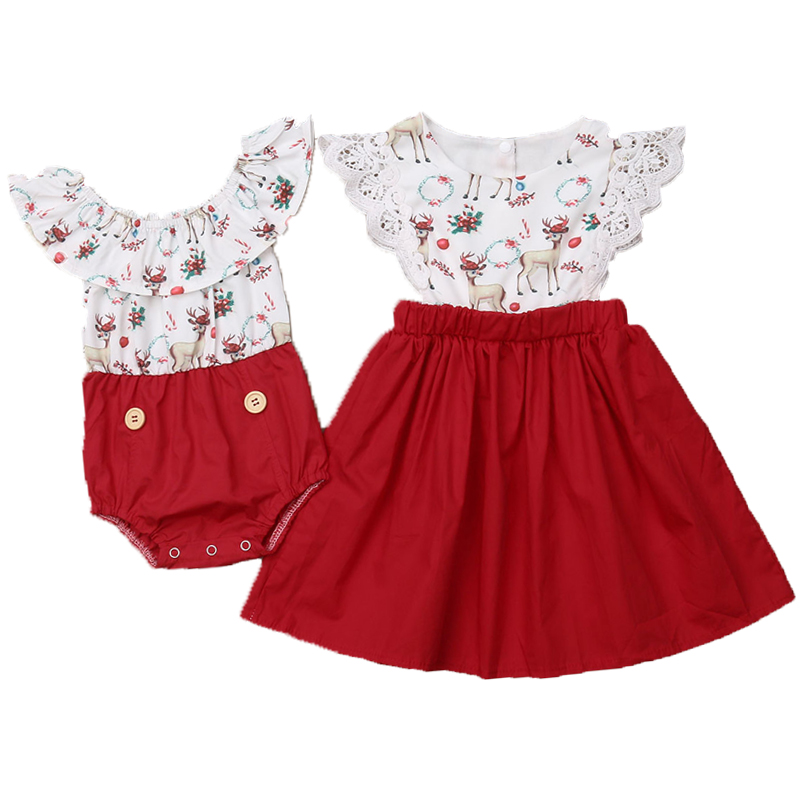 Kids Baby Girl Christmas Sister Matching Clothes Romper Lace Dress Outfit Set[Christmas Deer Dress,6T]