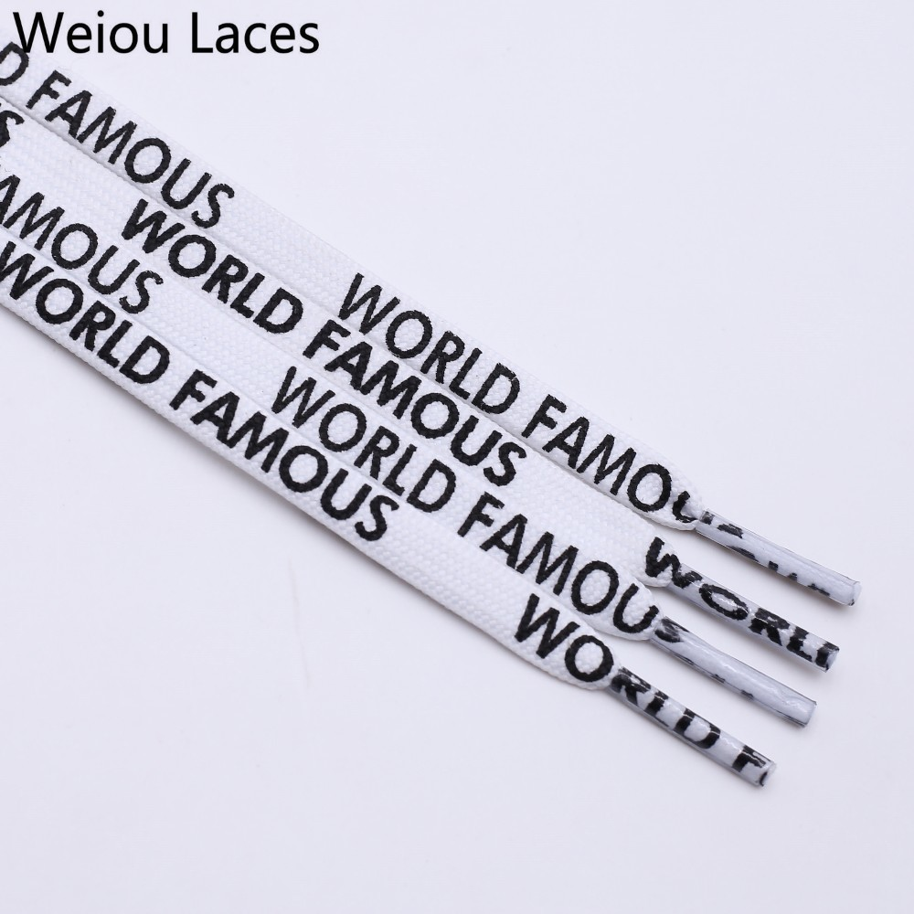 Weiou Fashion 7mm Width Double-Sided Silk Screen Printing Universal Shoe Laces Flat Printed WORLD FAMOUS Shoelaces Personality