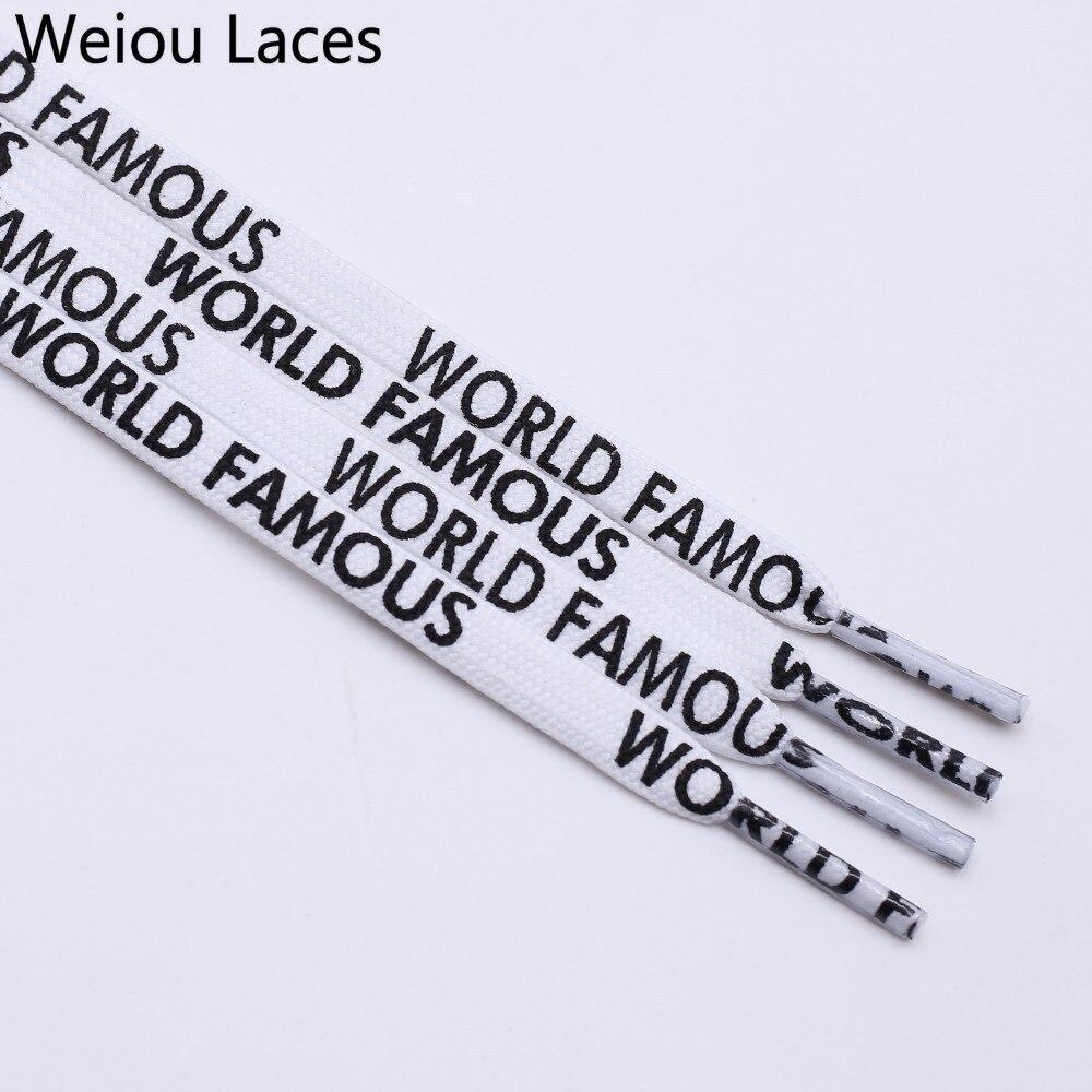 Weiou Mode 7mm Breite Doppelseitige Siebdruck Universal Schnürsenkel Flache Gedruckt Welt BerÜhmte Schnürsenkel Persönlichkeit Hochwertige Materialien