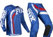 2019 IMPERTINENTE Fox MX 180 Cota Azul Jersey & Pant Combo Motocross Dirt Bike Moto Off-road ATV BMX conjunto de engrenagens