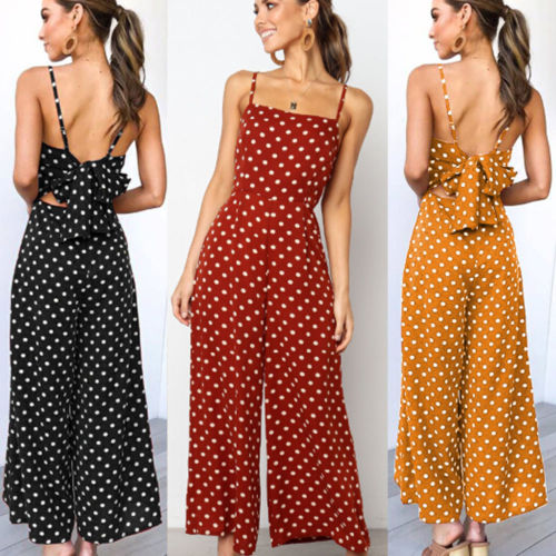Women Summer Sleeveless   Jumpsuit   Playsuit Party Wide Leg Long Trousers Romper Bow Sling   Jumpsuits   Fermma Ladies Dot Ropa