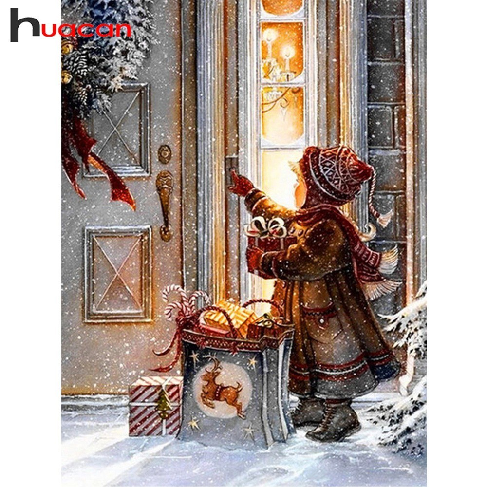 Huacan 5D DIY Diamond Painting Christmas Night Diamond Mosaic Embroidery Needlework Cross Stitch Landscape Full Square Gift