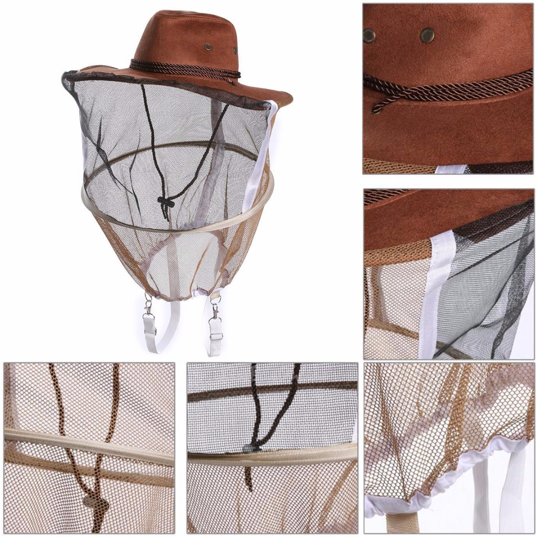 Beekeeping Cowboy Mosquito Bee Insect Net Veil Hat Cap Face Head Protector Hat