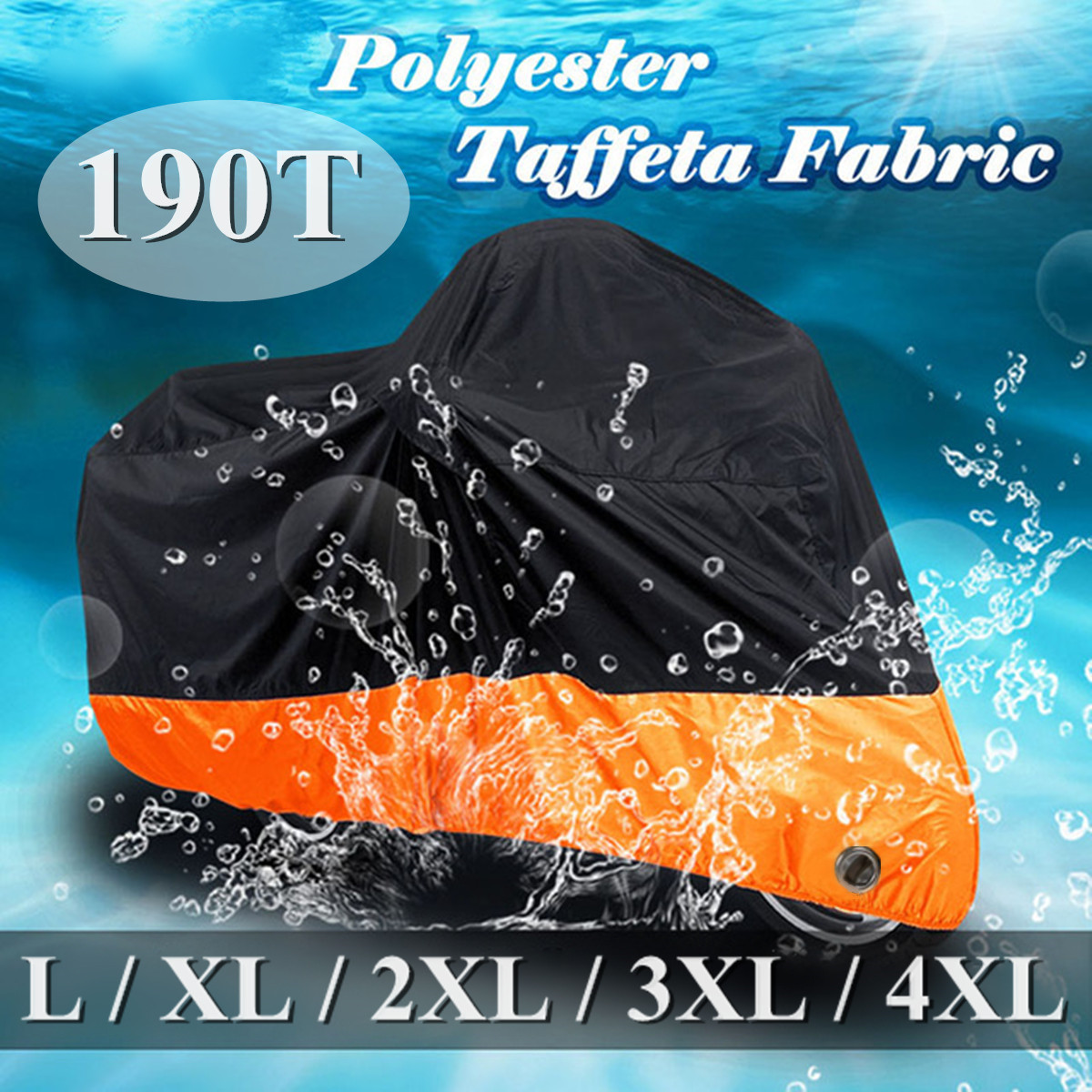 Waterproof Protect Rain Dust UV Motorcycle Cover Case 190T Outdoor Motorbike Protector L/XL/2XL/3XL/4XL Elastic Hem Side Squeeze