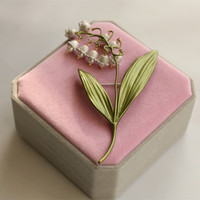 Free shipping handmade natural pearls green valley lily flower brooch pin