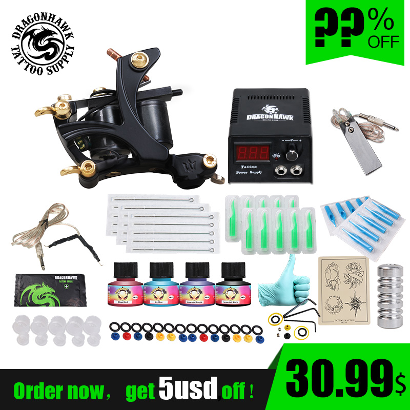 Cheap Beginner Tattoo Kit High Cost performance 1 Tattoo Machine Gun 4 Tattoo Inks Tattoo Supply