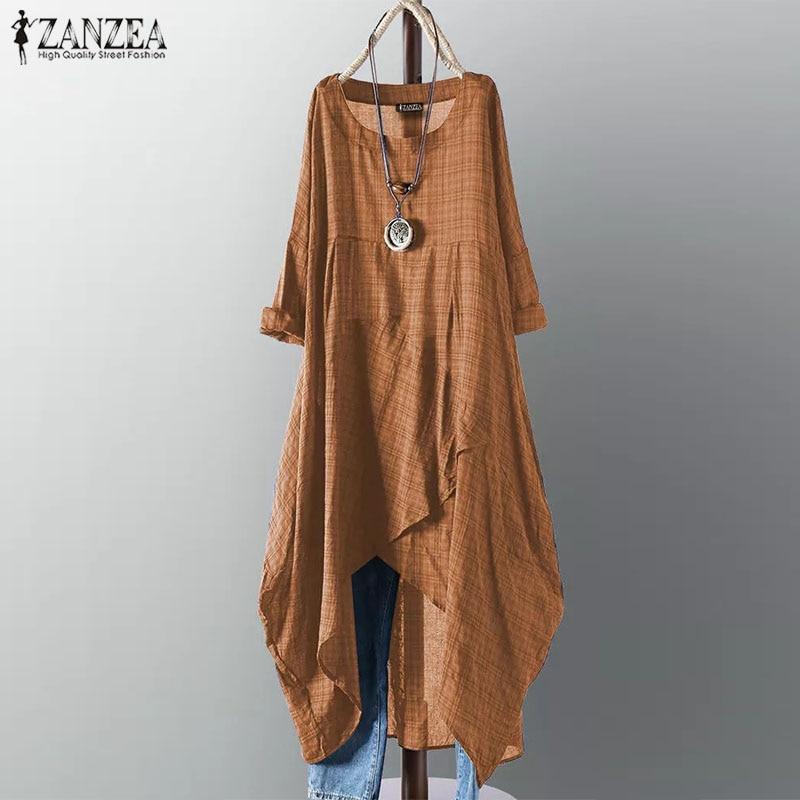 Women Dress ZANZEA 2019 Summer Ladies Sundress Check Plaid Asymmetrical Vestidos Vintage Mid Calf Dress Beach Party Robe Femme in Dresses from Women 39 s Clothing