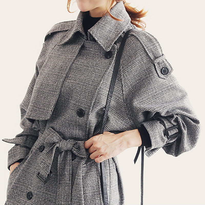 Windbreaker 2018 Latest Suit-dress Fine Plaid   Trench   Coat Female Long Loose Coat Fashion Belted Outwear Checks Overcoat