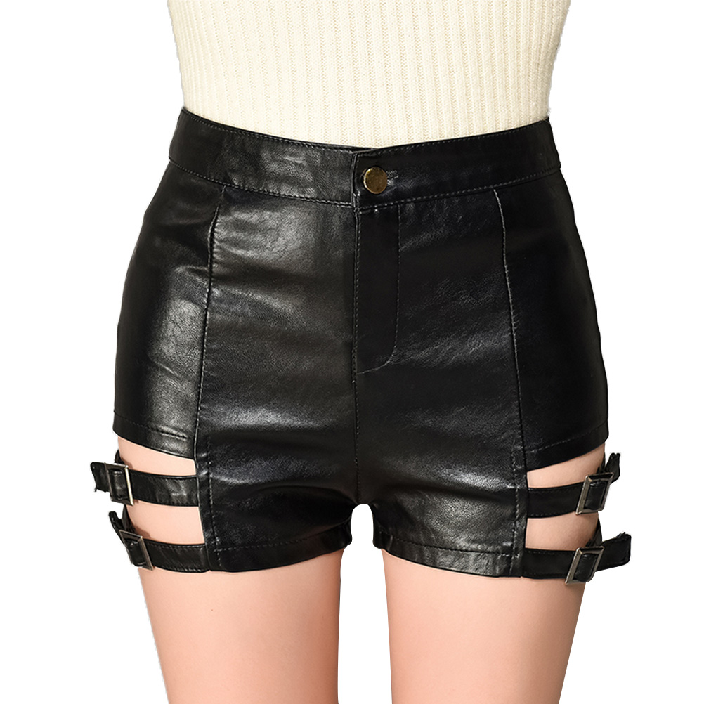 Black Punk PU Leather   Shorts   Women Fashion High Waist Sexy Hollow Out Femme Slim Casual Skinny Cool   Shorts